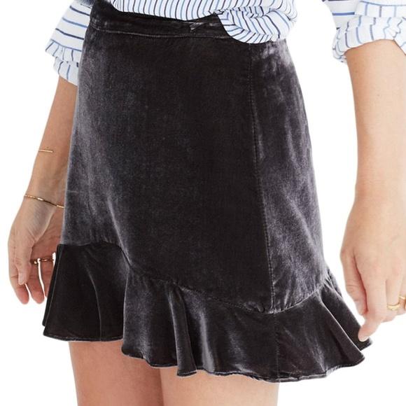 Madewell Dresses & Skirts - Madewell Velvet Ruffle Edge Gray Mini Skirt